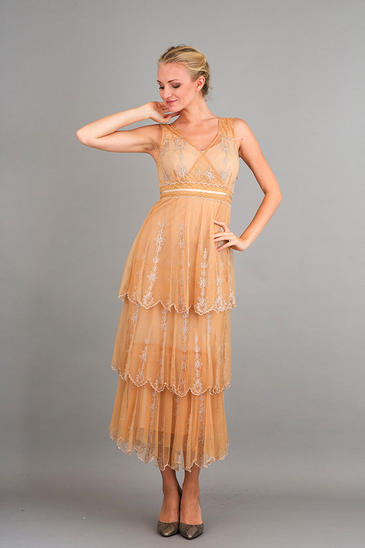 NATAYA ROMANTIC GOLD VINTAGE INSPIRED DRESS