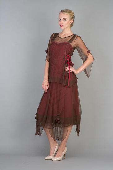 Nataya Romantic Vintage Inspired Dress Chocolate/Raspberry